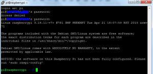 login raspberry pi via putty