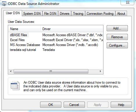 Teradata Data Source Administrator