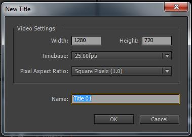 Adobe Create Title name Window
