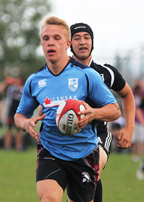 Ben Lesage (front) captained his high school rugby team. He will be attending UBC in the fall to study engineering.