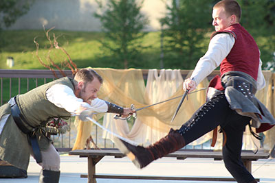 Edmund Stapleton as Mercutio makes a desperate lunge at Steven Pecksen as Tybalt durring one of Romeo and Juliet's several fight scenes