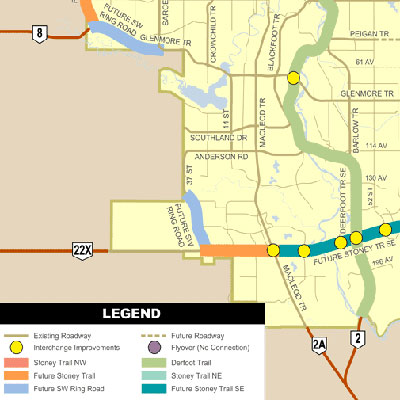 This infographic, available through the Government of Alberta Ministry of Transportation, details the projected Future SW Ring Road as it relates to Southwest Calgary, Alta.  Map courtesy of the Government of Alberta