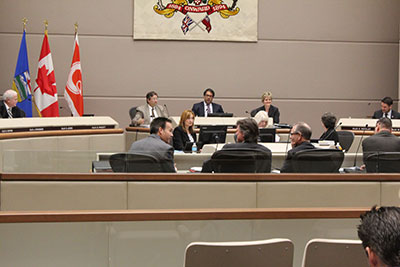 Nenshi acknowledges the importance of the crosswalk paint program in the first city council meeting since the election.