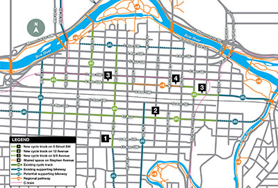 Calgary cycle track map