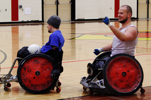 Zak Madell at wheelchair rugby practice