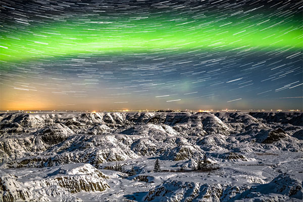 Late night photoshoots are to capture aurora borealis, a natural light display commonly seen in high altitude regions. Photo courtesy of Neil Zeller.