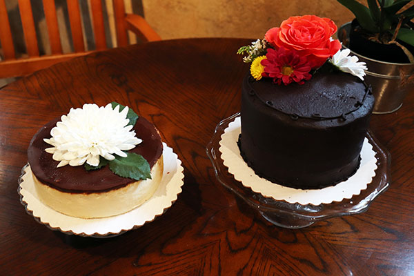 The fudge brownie cheesecake (left) and chocolate ganache (right) are featured above. Photo by Casey Richardson.