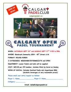 Calgary Open Padel Tournament Poster