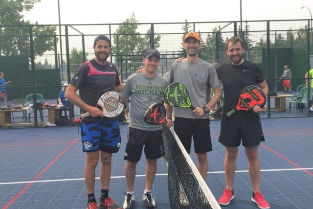 Andres Stamile playing the final of the Stamile Padel Founders cup
