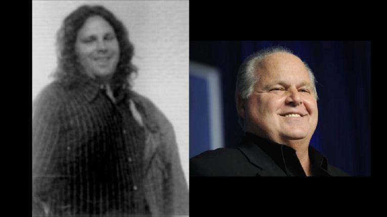 A sinistra, una delle ultime immagini di Jim Morrison, a destra l'attuale Rush Limbaugh