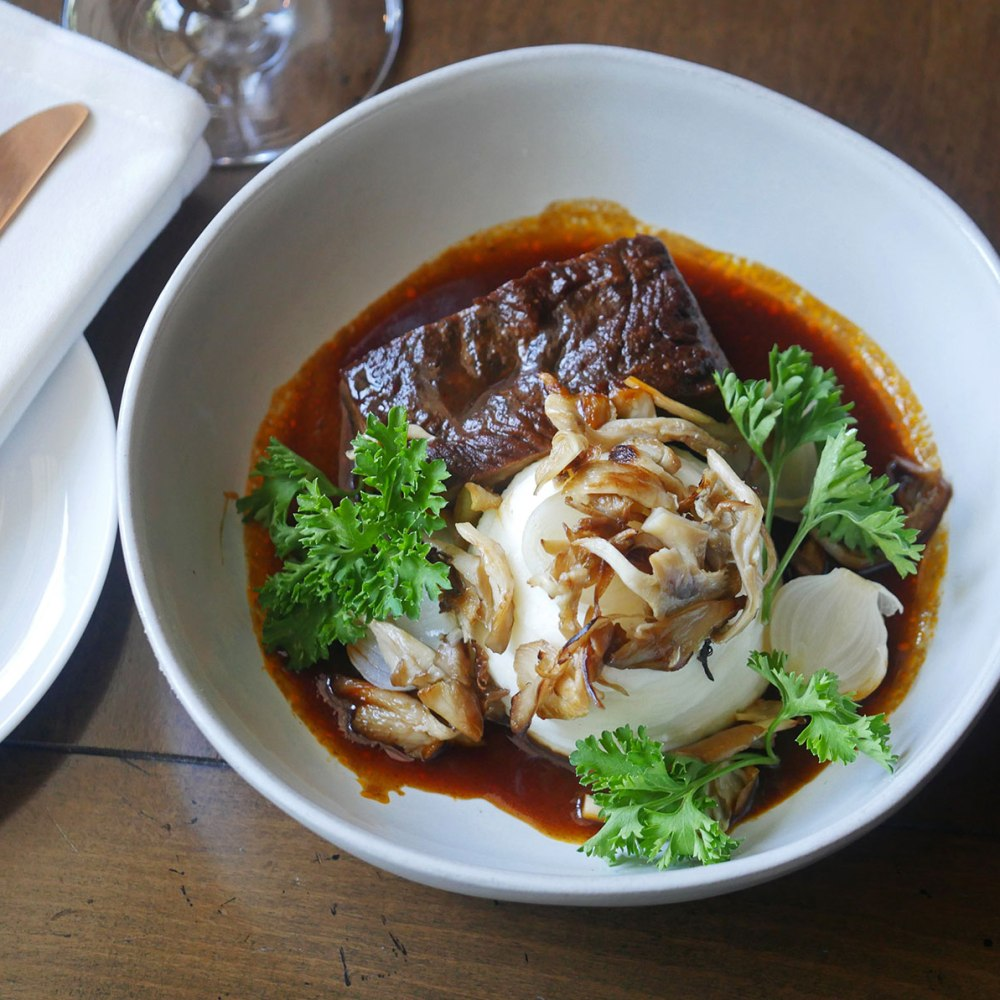 Fall Recipe: Braised Short Rib with Oyster Mushrooms at First & Oak