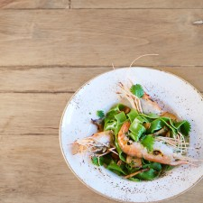 Local Nettle Pasta with Mushrooms & Spot Prawns at S.Y. Kitchen