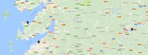 Mapa onde se marcan os puntos onde se instalou o SQM en Bueu, Vigo e Castrelo de Miño