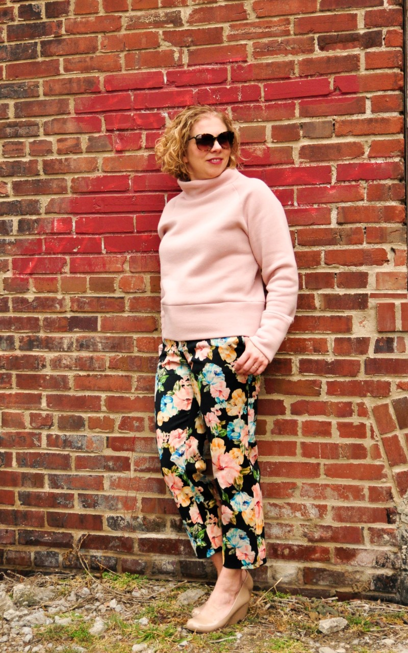 Pink sweatshirt fleece and floral pants