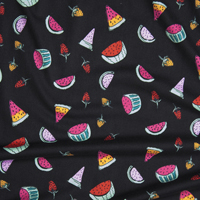 http://www.califabrics.com/vibrant-hand-drawn-summer-fruit-on-black-double-brushed-poly-spandex/