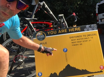 Rider pointing to his location on the elevation profile of L'Etape California.