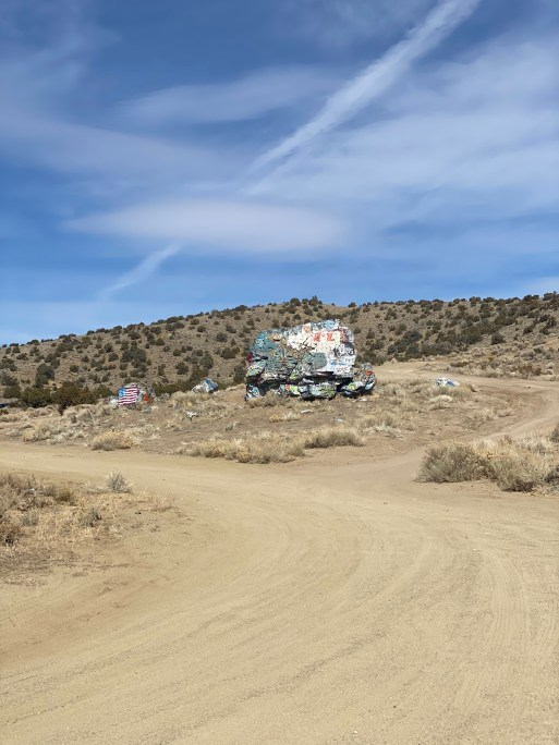 A close-up of the graffiti laden rock called Painted Rock. Off Sierra Pass Road near Carson City, NV.
