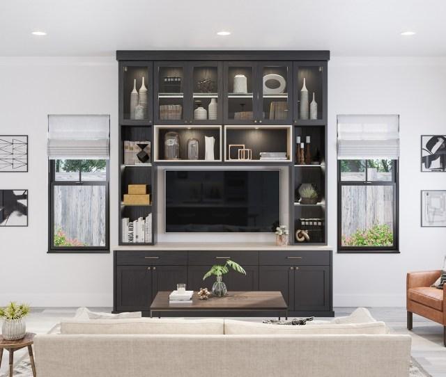 Millstone Great Room In Dark Brown Dakota Finish With Shadow Black Trim And Accent Lighting