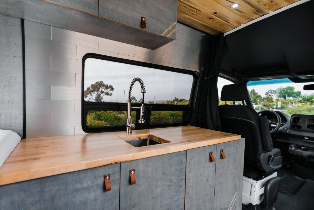 Custom camper van kitchen.