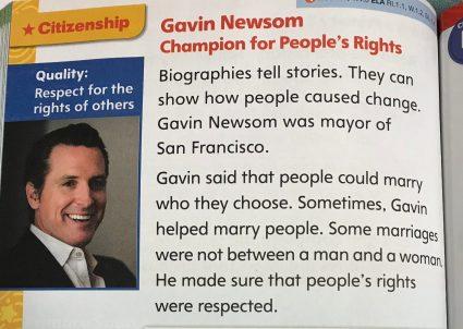 First grade textbook lionizes Newsom alongside Washington, Lincoln