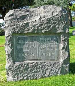 Grant P. Cuddleback, Akmira, Ernest, and Baby Headstone