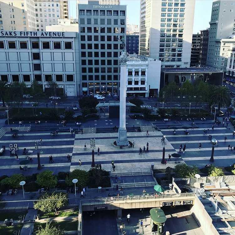 View of Union Square from the top of Macy's