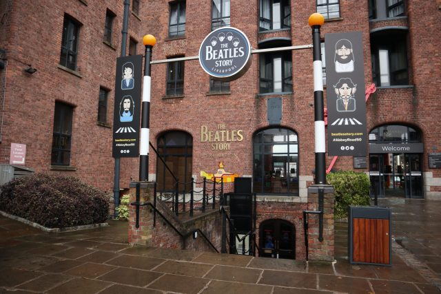 The Beatles Story entrance at the Royal Albert Dock in Liverpool, England