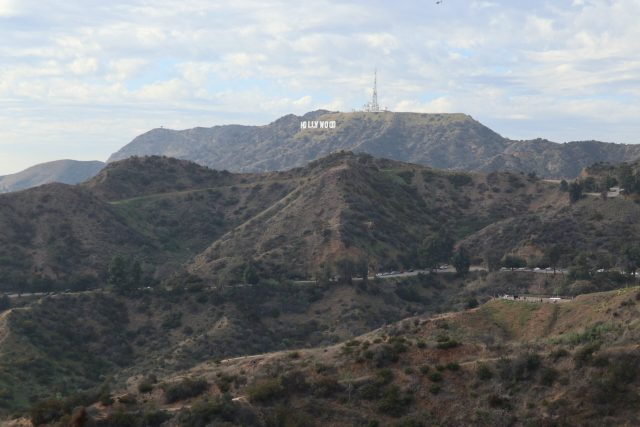 View of the Hollywood Sign from the grounds of the Griffith Observatory in Los Angeles, California