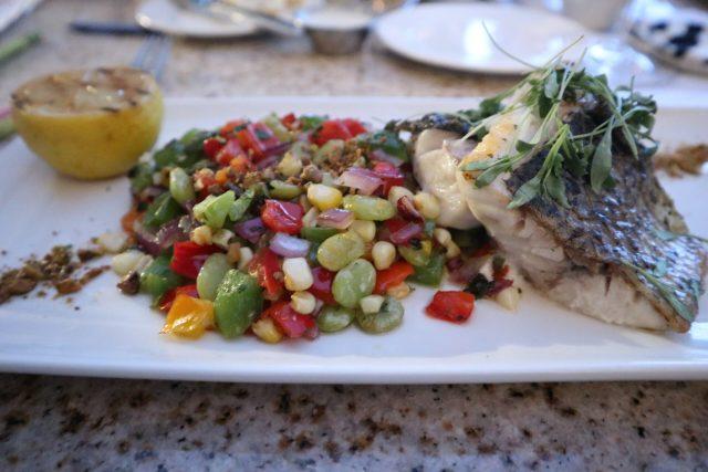Sea bass entree at Vineyard Rose, the signature restaurant of South Coast Winery, Resort and Spa in Temecula, California