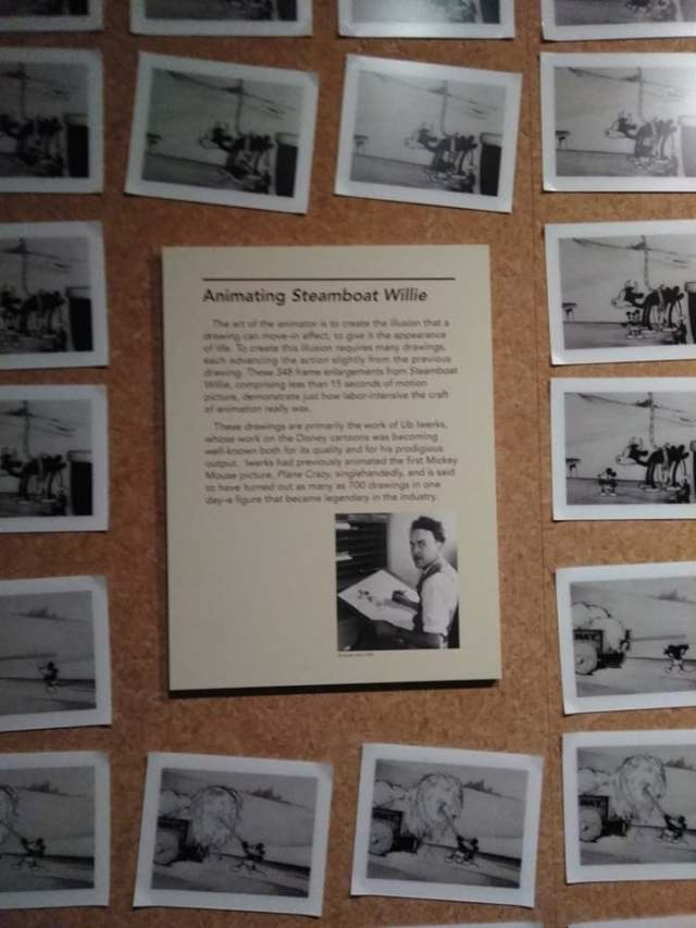 "Sketches and an information display about the creation of ""Steamboat Willy"" on display at the Walt Disney Family Museum"