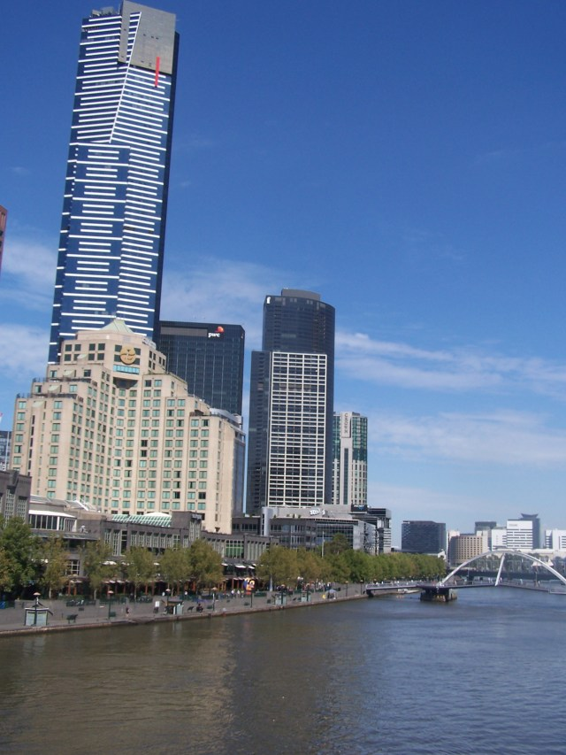 The Southgate Precinct towers over the RIver Yarra in Melbourne, Australia