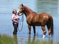 "Karen Fredrickson and Mrr Pyro AKA ""Murphy"" North Platte River, Register Cliffs NB 2011"