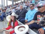 Autographing hats in the stands!