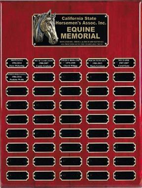 Charitable Trust Equine Memorial Plaque