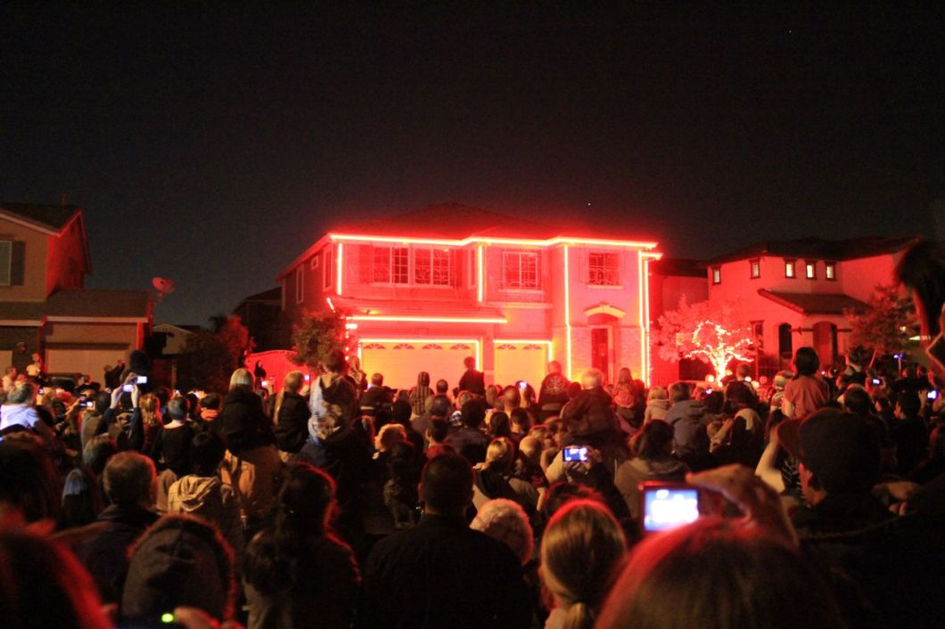 halloween light show house in riverside ca california through my lens