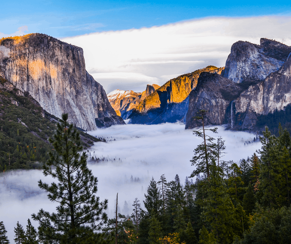 Sunrise in Yosemite Valley as Seen from Tunnel View. A must see on your Yosemite Day Trip