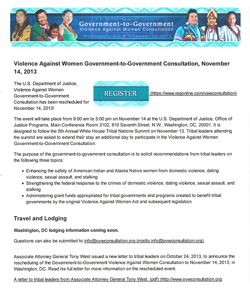 U.S. Dept. of Justice – Violence Against Women Consultation, Set For Nov. 14, 2013