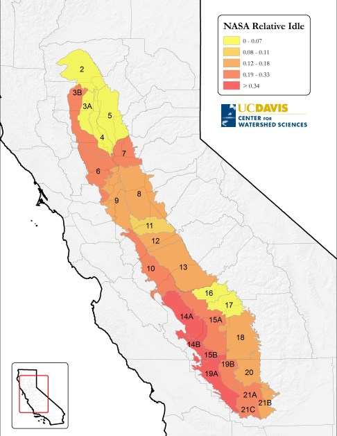 Difference in idle Central Valley cropland between 2014 and 2011, relative to the total agricultural land in each region. Prepared by authors using information from the Satellite Mapping consortium project of DWR, NASA Ames Research, CSU-Monterrey Bay, USGS and the USDA. Source: