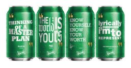 """Cans of Sprite will be emblazoned with inspirational quotes from hip-hop stars Drake, Nas, Rakim and Notorious BIG in a new campaign from the soda maker. The quotes include """"Know yourself, know your worth,"""" from Drake's 2015 album and """"Cool 'cause I don't get upset,"""" from Rakim's """"Microphone Fiend."""""""