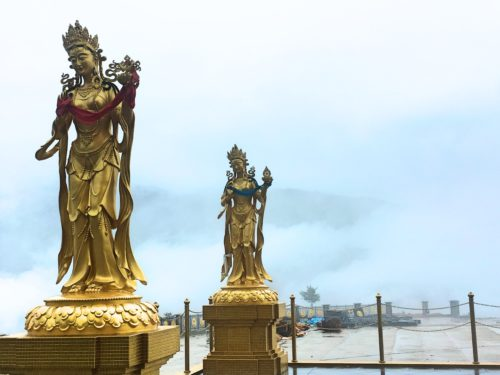 Golden lady statues