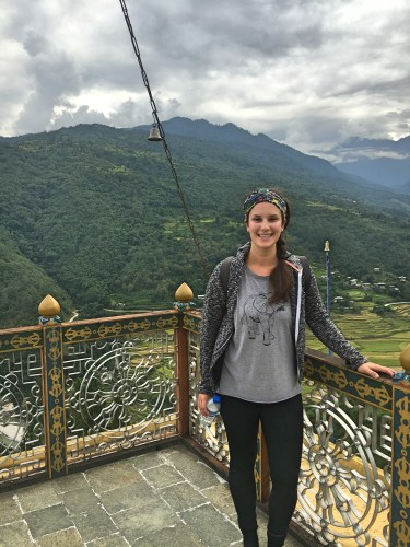 Me on the roof of a temple overlooking Punakha valley