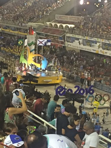 An Olympics float at the Sambadrome