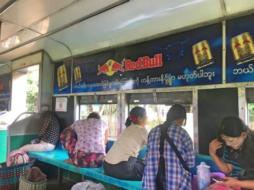Locals on circular train in Yangon