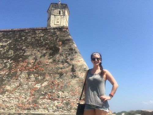 Self timer photo of me at the castle in Cartagena