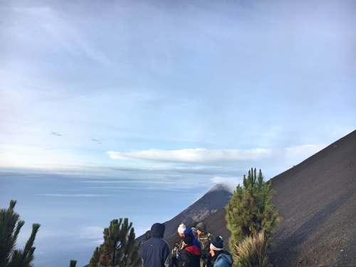 Descending Acatenango volcano summit