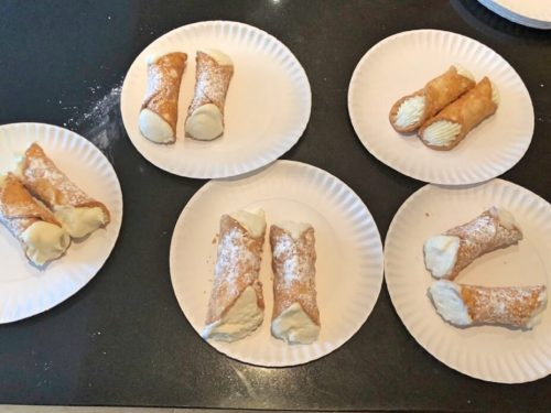 all the cannolis on display