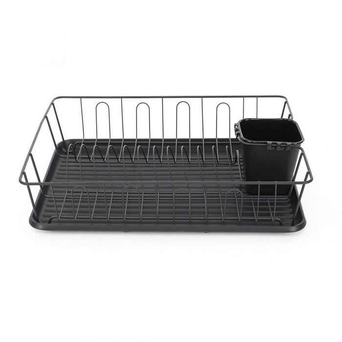calitek black kitchen dish drainer rack with drip tray and cutlery holder