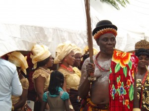 The 'Atewa', is a traditional chief who plays a very important role in the 'Leboku' Festival. Here he makes his way to the town square to take part in the 'Ekoi' dance.