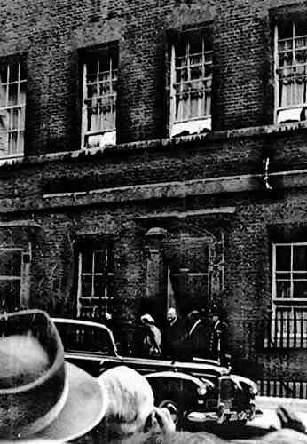 Winston Churchill leaving 10 Downing Street