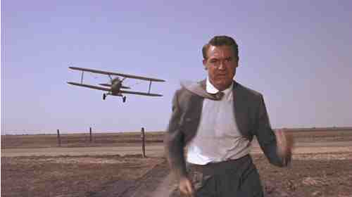 Cary Grant runs from a killer pilot in North By Northwest's iconic chase sequence.